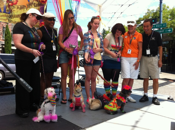 Doggie Drag Contest winners with judges